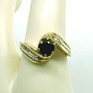 Jewelry - 14k Gold 1ct Midnight Sapphire & Diamond Ring Sz 7